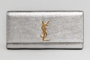 Saint Laurent Cassandre Metallic Logo Clutch