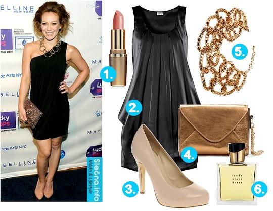 Naše tipy: 1. Světle růžová rtěnka Paradise, Giordani Gold (Oriflame), 2. Krátké černé večerní šaty (H&M), 3. Béžové lodičky na vysokém podpatku (Asos.com), 4. Zlatá večerní kabelka (Zara), 5. Náhrdelník - bižuterie (H&M), 6. Parfém Little Black Dress, Avon