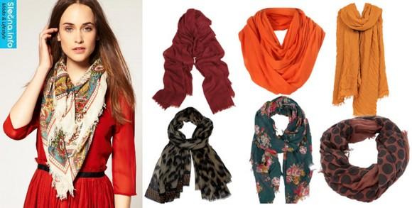 V módě jsou barevné a vzorované šátky, které oživí i šedivý kabát