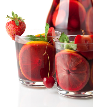 Refreshing fruit sangria. Closeup