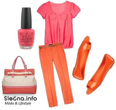 Mandarinkový a růžový outfit